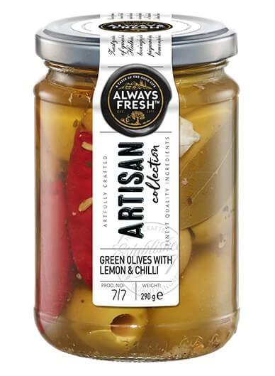 Artisan Green Olives With Lemon & Chilli